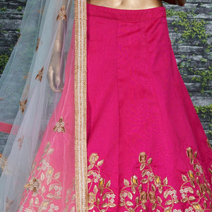 Beautiful Pink Mulberry Silk Embroidery Lehenga For Wedding With Price