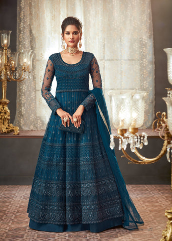 Teal Blue Heavy Embroidered Net Party Wear Anarkali Dresses Online