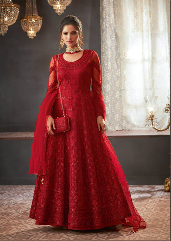 Red Embroidered Anarkali Indian Wedding New Style Salwar Kamis