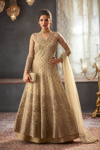 Beige Embroidered Wedding Anarkali Style Suits Designs