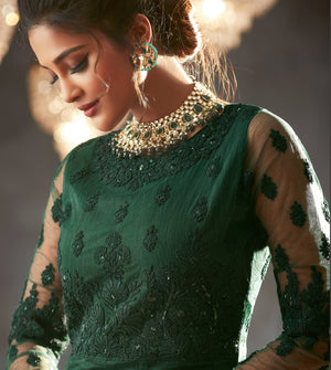 Dark Green Embroidered Wedding Anarkali Suits Latest Designs