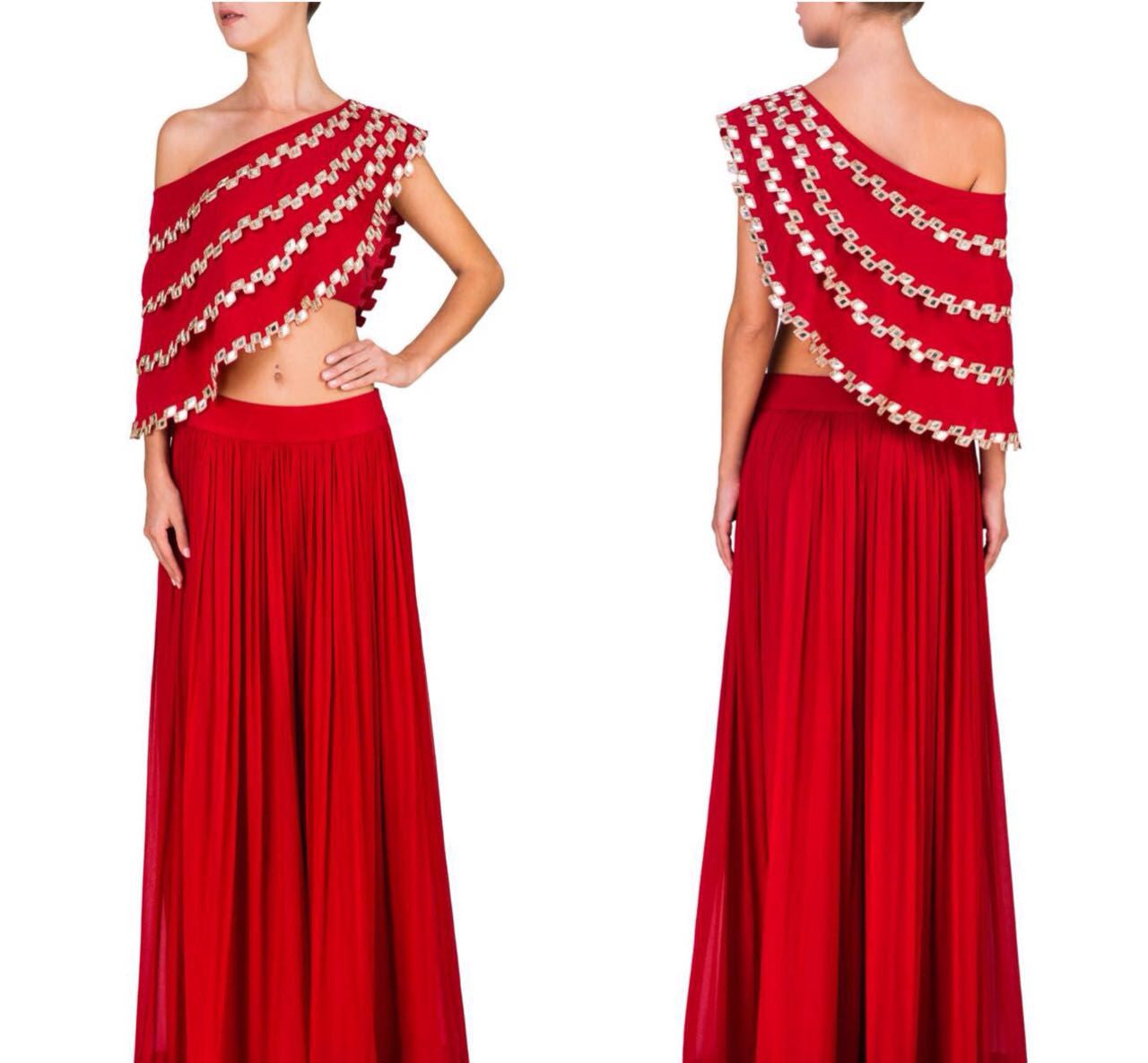 Red One Shoulder Cape Lehenga Choli Designer ,Indian Dresses - 1