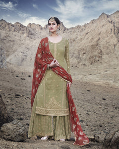 Light Khaki Georgette Palazzo Pant Latest Salwar Suit Design