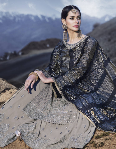 Light Grey Georgette Palazzo Salwar Suit Indian Dresses Online