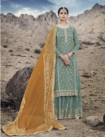 Dusty Green Georgette Palazzo Salwar Kameez Online Shopping