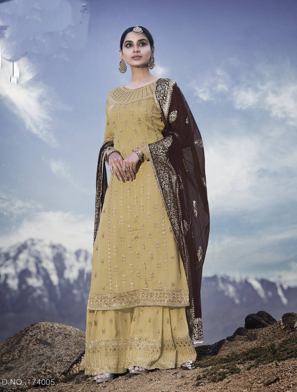Beige Georgette Palazzo Online Shopping For Womens Salwar Suits
