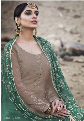 Tan Brown Georgette Palazzo Style Ladies Indian Suits Online