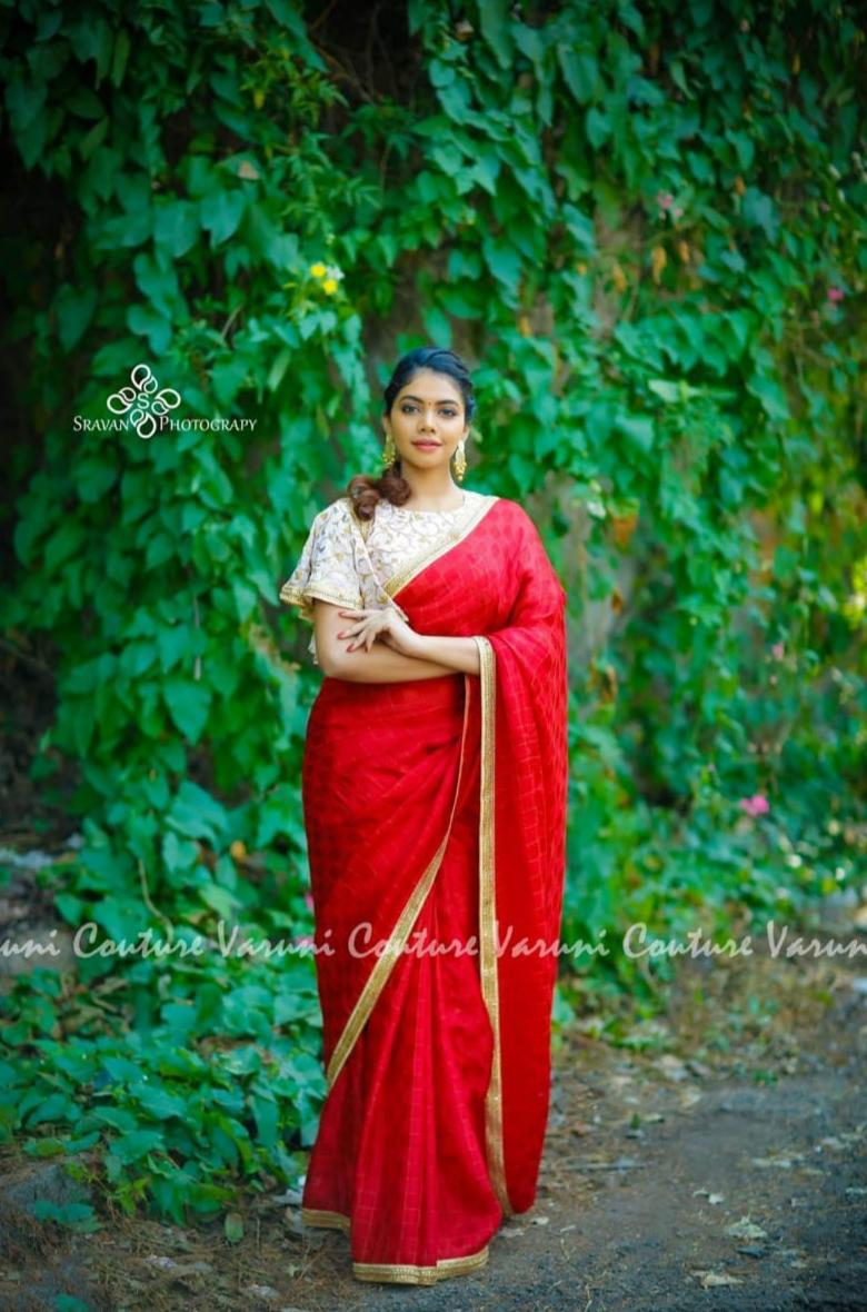 Red Sana Silk Party Wear Latest Design Sarees In Indian