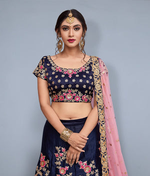 Heavy Embroidery Navy Blue Designer Ghagra Choli For Wedding