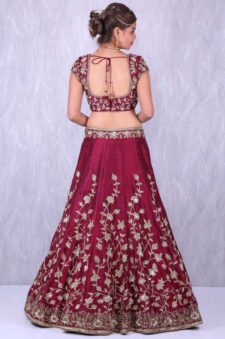 Maroon Embroidery Bollywood Lehenga Choli Online Shopping
