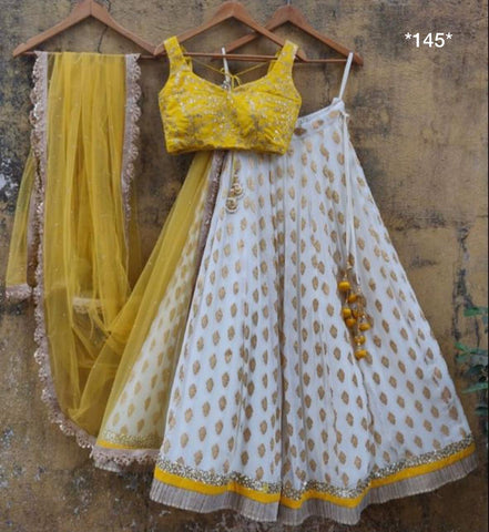 White Rapier Jacquard Party Wear Ghagra Choli Online