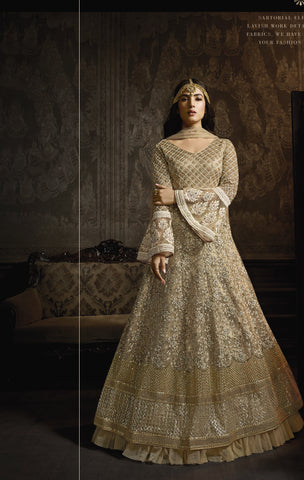 Beige Net Embroidered Anarkali Designer Salwar Suits For Wedding
