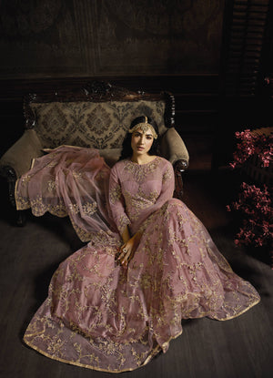 Misty Rose Net Lovely Gown Style Anarkali Salwar Suits India Online