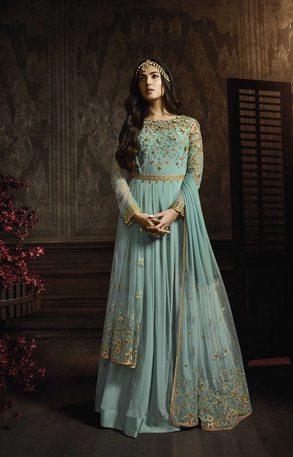 Light Teal Embroidered Georgette Long Anarkali Dress Online
