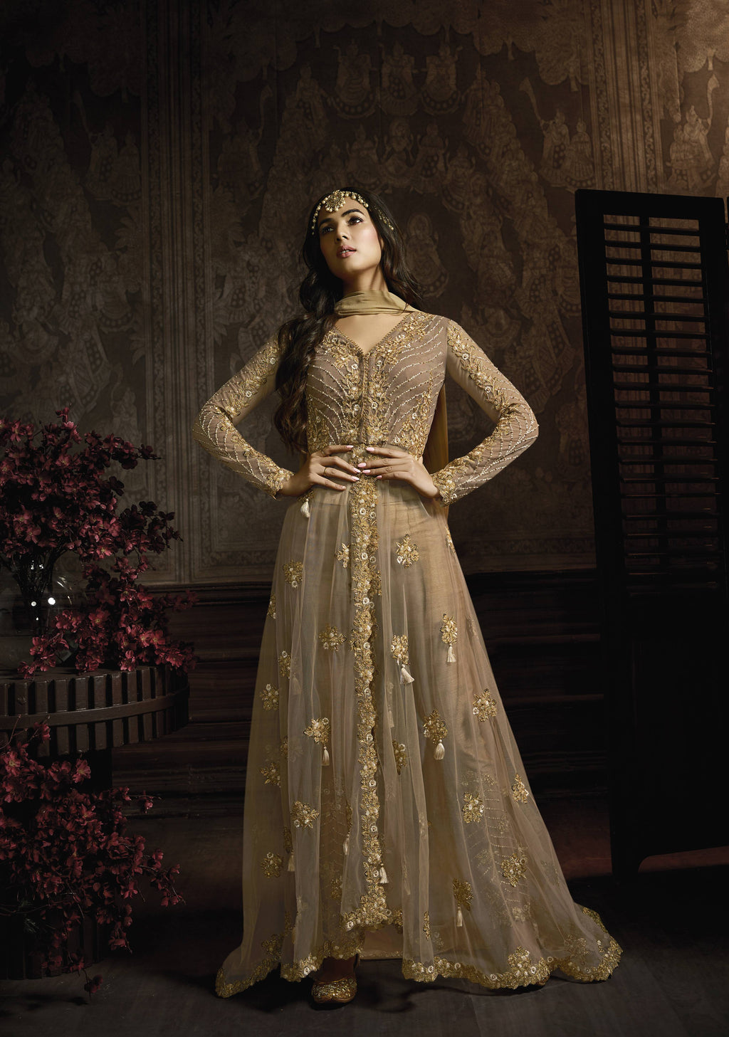 Beige Embroidered Long Anarkali Buy Suits for Women Online