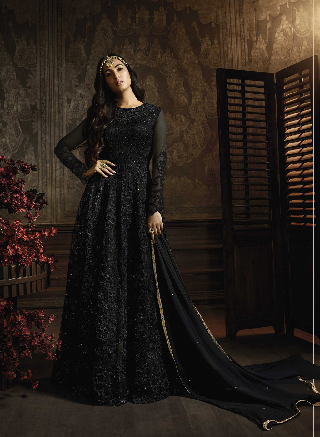 Black Net Embroidered Gown Style Anarkali Dress for Women Online