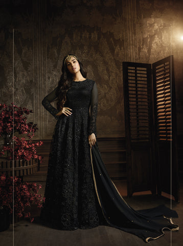 Black Embroidered Net Abaya Style Salwar Suit Wedding