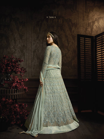 Greyish Blue Embroidered Abaya Style New Fashion Shalwar Kameez