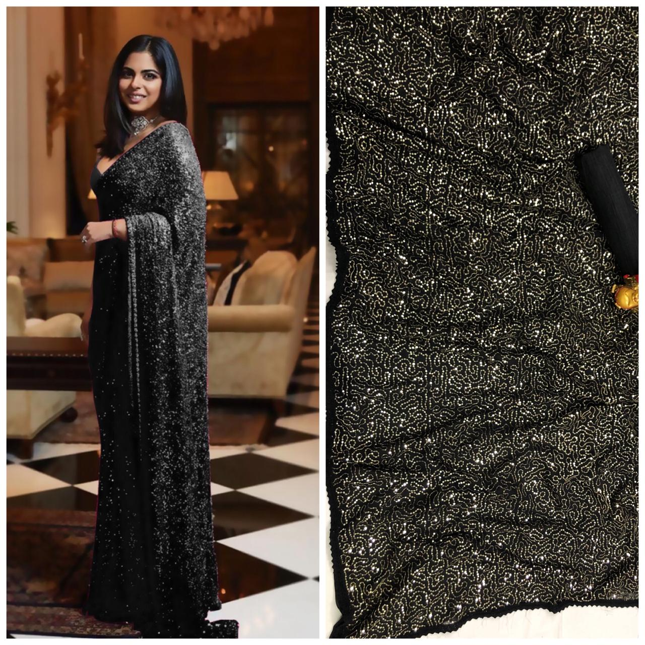 Black Bollywood Sequins Saree in Georgette with Plain Silk Blouse