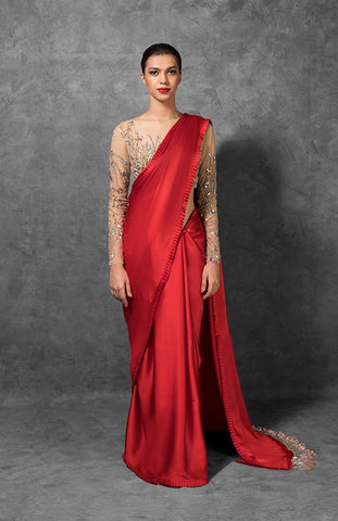 Crimson Red Satin Indian Party Wear Stylish Sarees Online Shopping