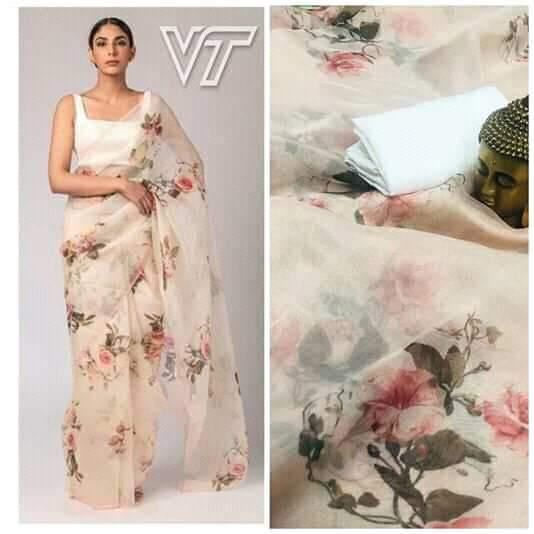 Cream Multi color Floral Digital Printed Latest Organza Saree and Blouse Set