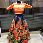Multi Color Floral Lehenga With Striped Crop Top Bollywood Dresses Online
