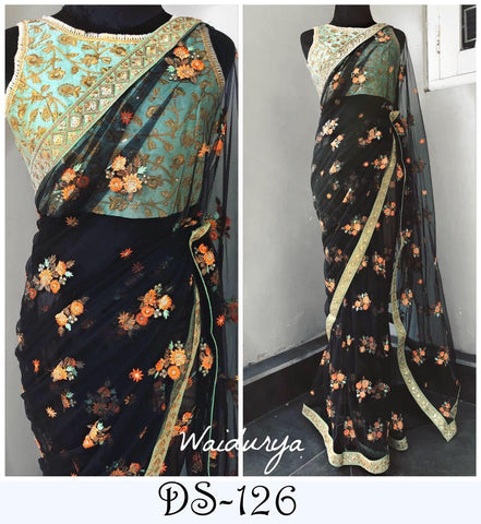 Black Net Sequins Thread Embroidery Work Sarees For Online Shopping