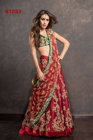Red And Green Designer Bollywood Lehenga Designs ,Indian Dresses - 1
