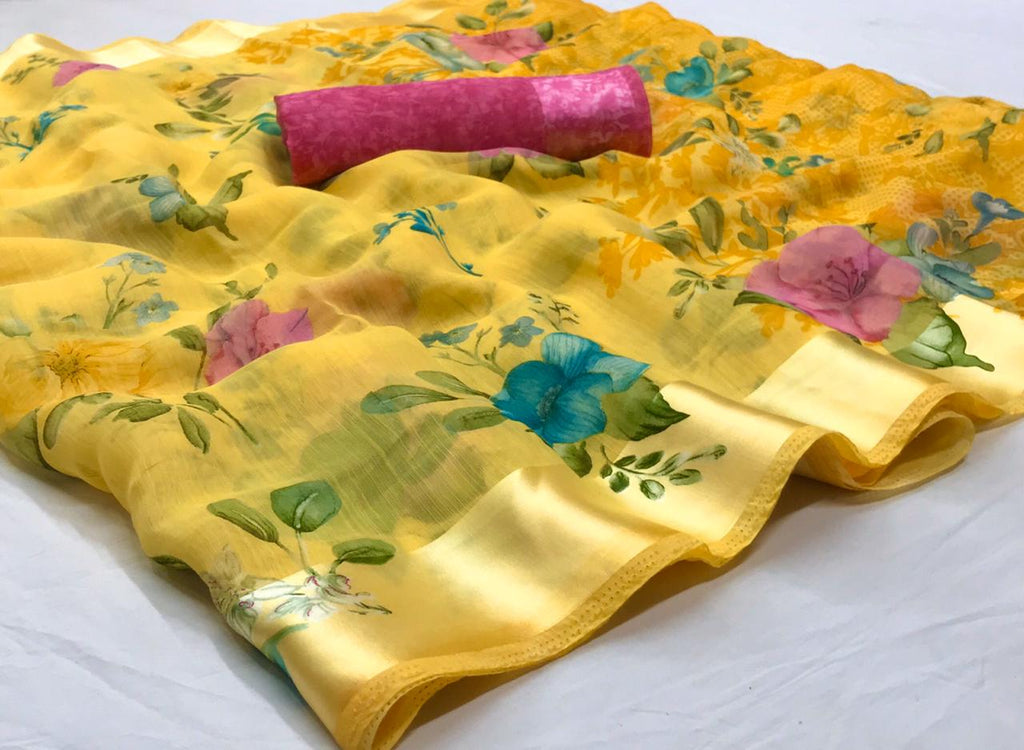 Elegant Yellow Floral Linen Saree Digital Print And Pink Blouse
