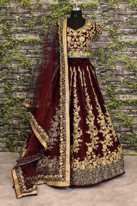 Maroon Embroidery Raw Silk  Beautiful Lengha Choli Online