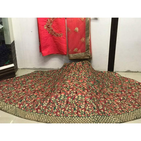 Verdant Green Mulberry Silk Embroidery Indian Designer Ghagra Choli