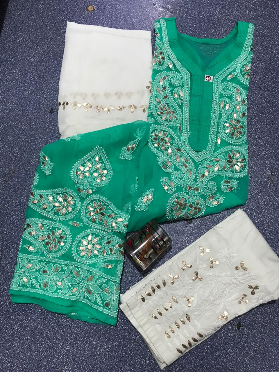 Green Chikankari Kurti 3 pc set Georgette Gota patti Combo