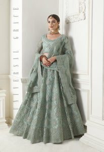 Greenish Grey  Net Embroidered Beautiful Lehengas For Wedding
