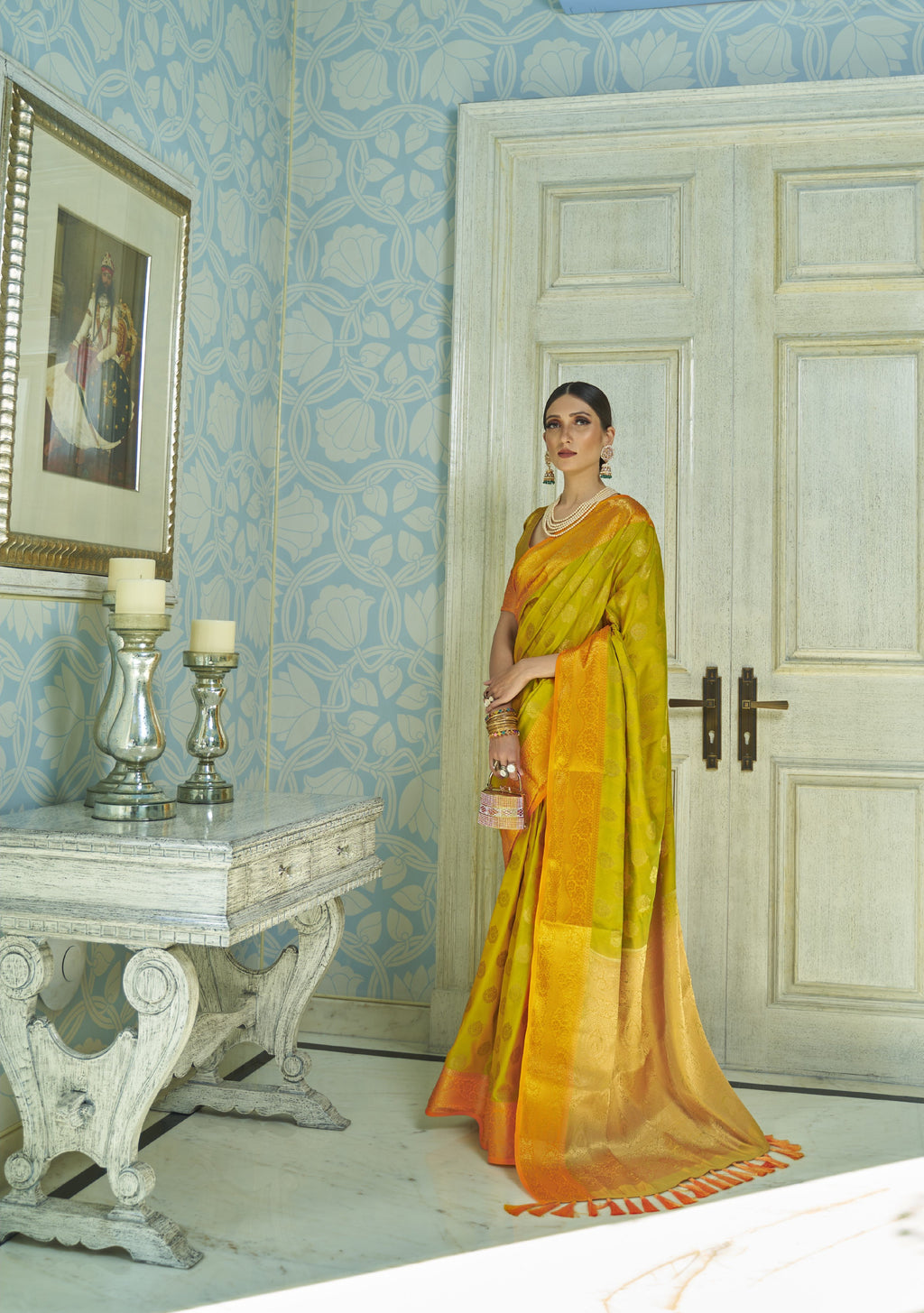 Mustard Banarasi Silk Saree Online Clothes Shopping India