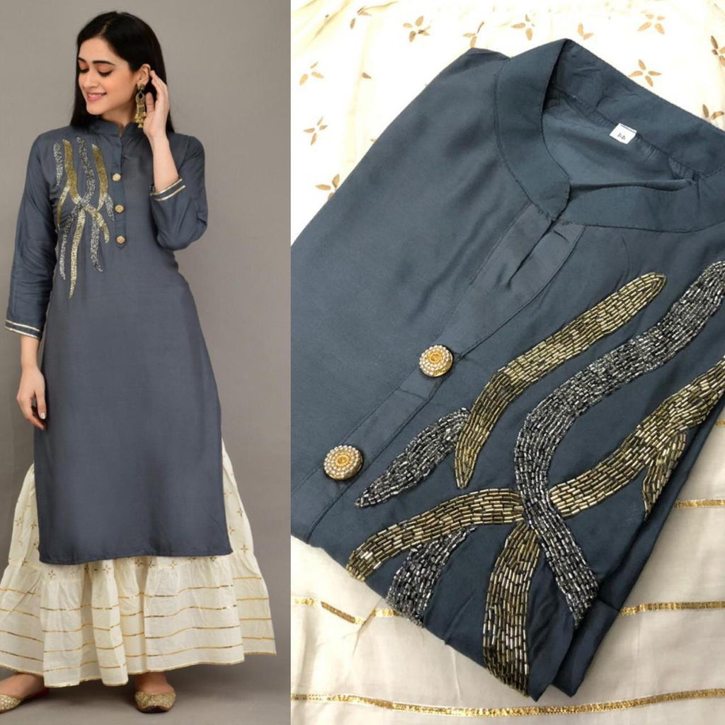 Grey Embroidered Kurtis Sharara Kameez Women Indian Suits