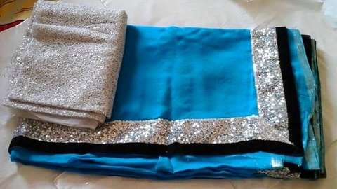 Golden Border Plain Blue Party Wear Sarees ,Indian Dresses