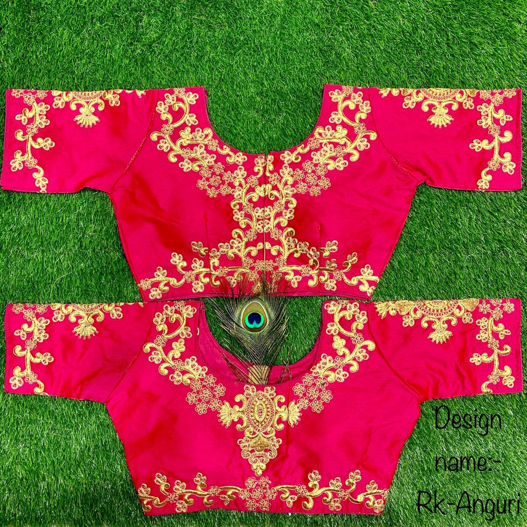 Pink Embroidered Silk Short Sleeve Blouse Design Online
