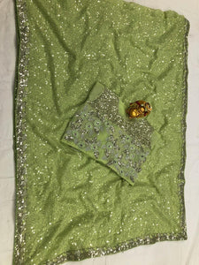 Pistachio Green Georgette Sequins Party Wear New Saree Design