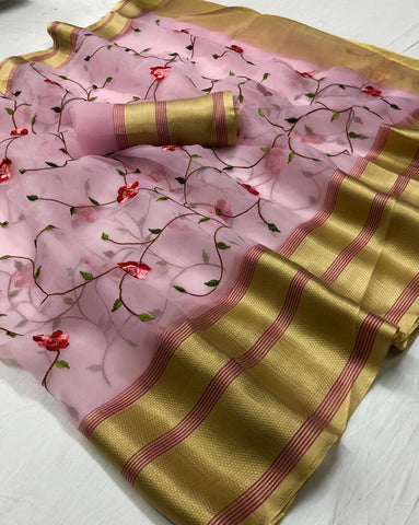 Pink Embroidered Organza Best Indian Sarees Online Shopping