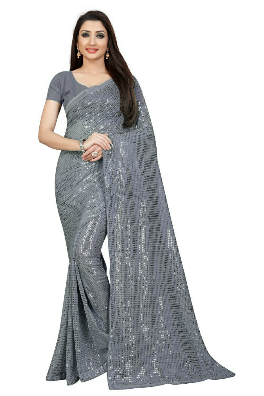 Grey Georgette Sequins Latest Fashion Sarees Online Shopping