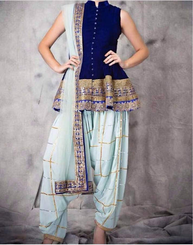 Blue Dhoti Style Latest Indian Salwar Suits