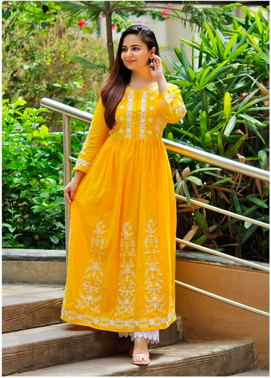 Green Faux Georgette Fancy Anarkali Long Salwar Kameez Online