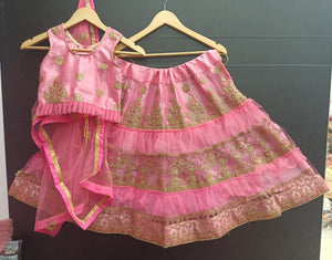 Pink Net Ready To Wear Kids Lehenga Blouse With Dupatta