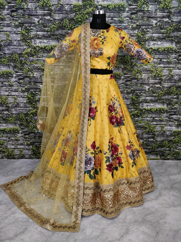 Yellow Color Digital Floral Printed Online Shopping Wedding Lehengas