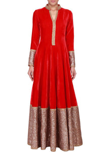 Hot Red Velvet Long Indian Bollywood Dresses ,Indian Dresses - 1