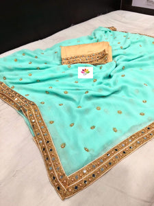 Aqua Marble Georgette New Design Beautiful Saree Online Shopping