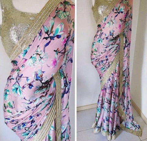 Pink Satin Bollywood Clothes Online Shopping