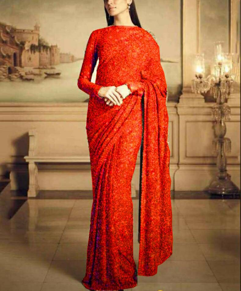 Red Georgette Sequins sarees Online