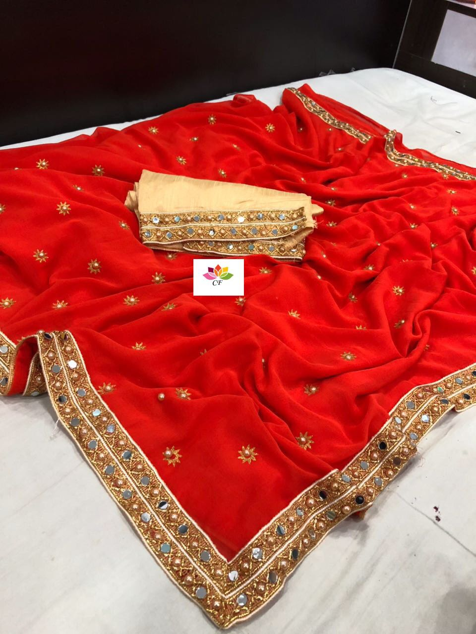 Red Marble Georgette New Fashion Sarees Online Shopping