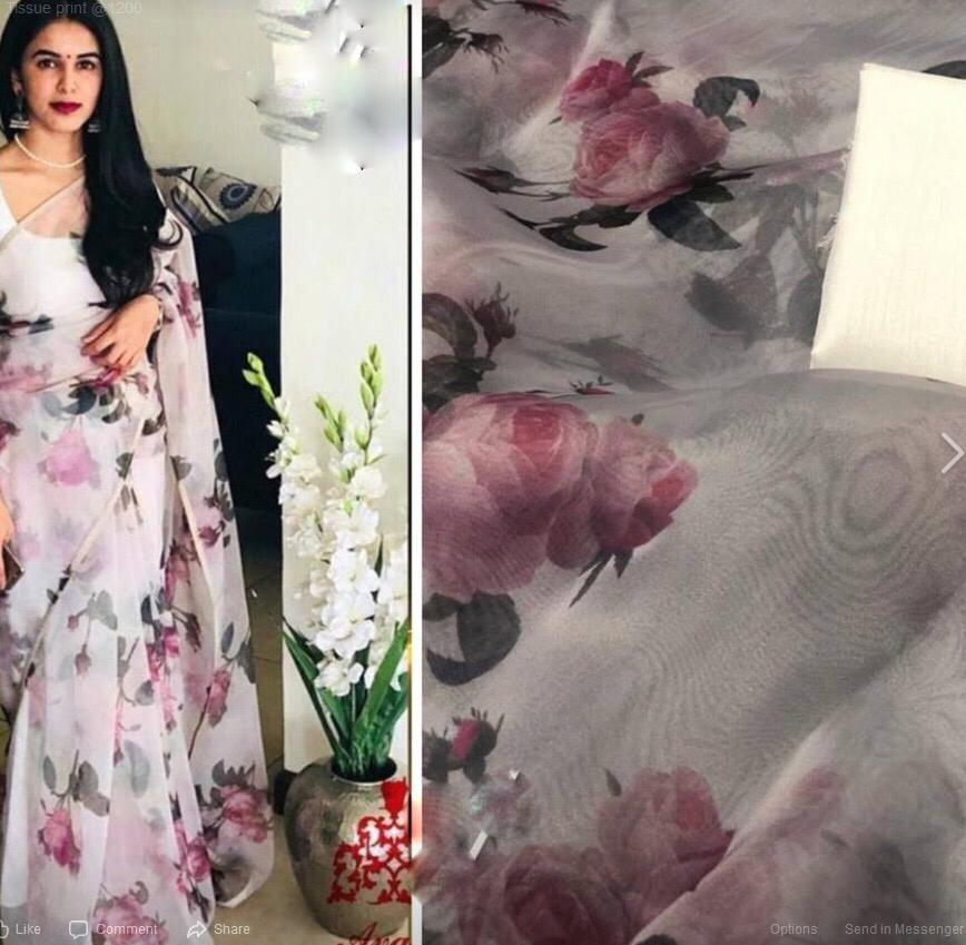 Light Pink Floral Digital Printed Latest Organza Saree and Blouse Set